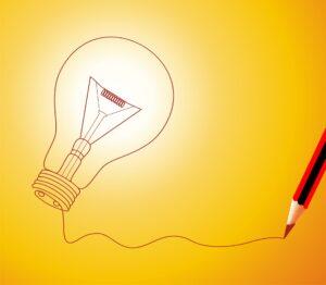 Ilustração lâmpada e lápis