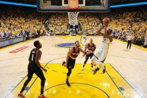 OAKLAND, CA - APRIL 16: Kevin Durant #35 of the Golden State Warriors shoots the ball during the game against the Portland Trail Blazers during the Western Conference Quarterfinals of the 2017 NBA Playoffs on April 16, 2017 at Oracle Arena in Oakland, California. NOTE TO USER: User expressly acknowledges and agrees that, by downloading and or using this photograph, user is consenting to the terms and conditions of Getty Images License Agreement. Mandatory Copyright Notice: Copyright 2017 NBAE (Photo by Garrett Ellwood/NBAE via Getty Images)