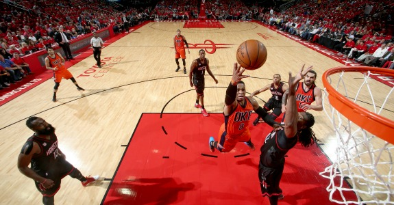 HOUSTON, TX - APRIL 16: Russell Westbrook #0 of the Oklahoma City Thunder goes to the basket against the Houston Rockets during the Western Conference Quarter-finals of the 2017 NBA Playoffs on April 16, 2017 at Toyota Center in Houston, TX. NOTE TO USER: User expressly acknowledges and agrees that, by downloading and or using this Photograph, user is consenting to the terms and conditions of the Getty Images License Agreement. Mandatory Copyright Notice: Copyright 2017 NBAE (Photo by Nathaniel S. Butler/NBAE via Getty Images)