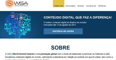 Inscrições para a Premiação Global WSA, um dos maiores do mundo em conteúdo digital, vão até 14 de agosto.