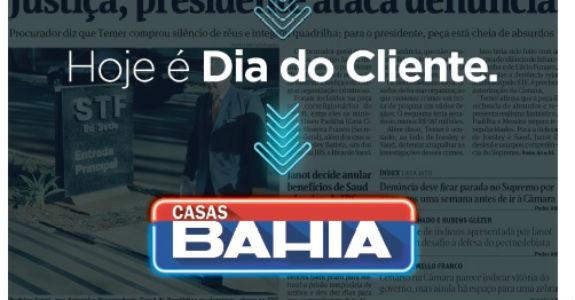 Casas Bahia estreia formato na primeira da Folha