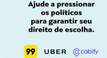 Uber, 99 e Cabify se unem contra projeto de lei