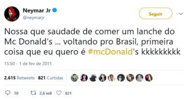 Tuítes do Neymar vão para embalagens do McDonald's