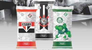 Empresa de gelo veste pacotes com escudo de times de SP