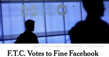 Facebook multado em US$ 5 bilhões por vazamento de dados.