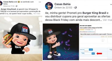 Casas Bahia interage com BK e iFood para a Black Friday