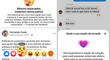 """Facebook lança botão de """"força"""" temporário para coronavírus"""