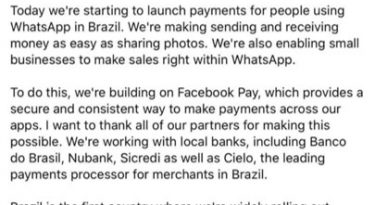 Mark Zukerberg anuncia chegada do Facebook Pay via WhatsApp ao Brasil