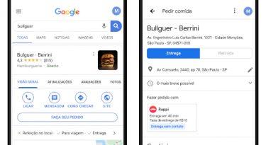 Google lança função delivery direto pela busca ou Maps