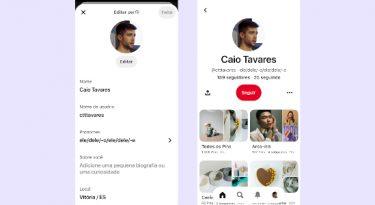 Pinterest permite a adição de pronomes pessoais aos perfis